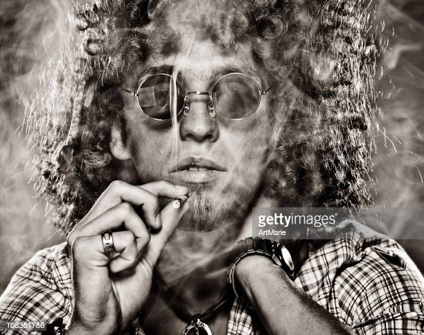 hippie - smoking weed stock photos and pictures