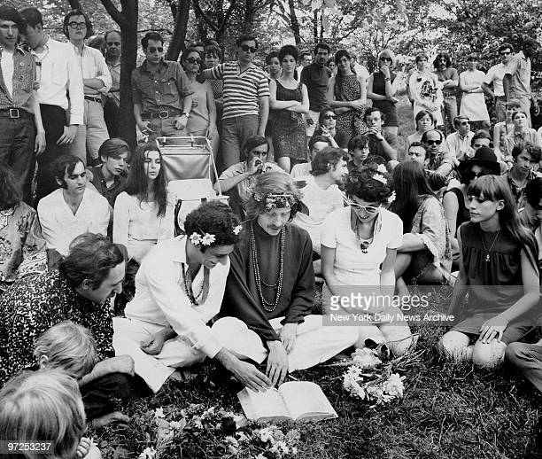 Hippie wedding in Central Park with political activist Abbie Hoffman the groom the ordained minister of the NeoAmerican Church and Anita Kushner the...