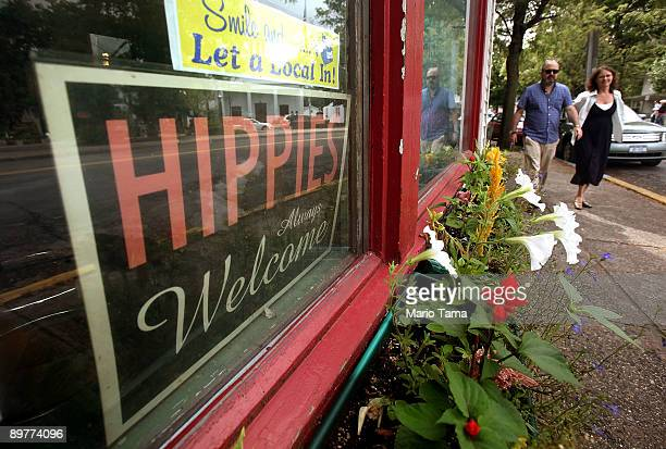 A 'Hippies Always Welcome' sign sits in a window as the 40th anniversary of the Woodstock music festival approaches August 13 2009 in Woodstock New...
