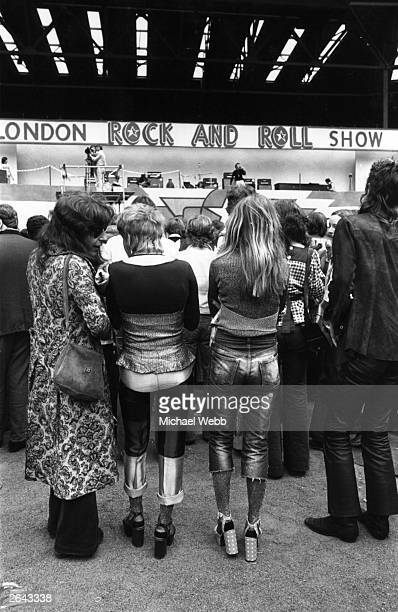 Hippies and rockers together at the rock 'n' roll Revival Show held at Wembley Stadium London