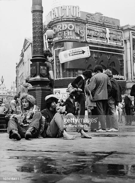 Hippies At Piccadilly Circus In London During Sixties