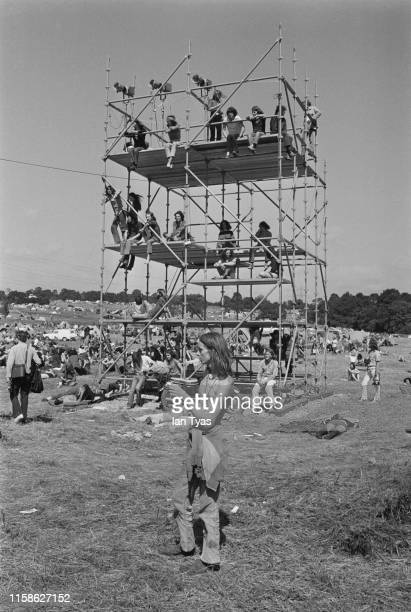 Hippies at the Glastonbury Fair music festival, 22nd - 26th June 1971. Later renamed the Glastonbury Festival, this was the second festival to be...