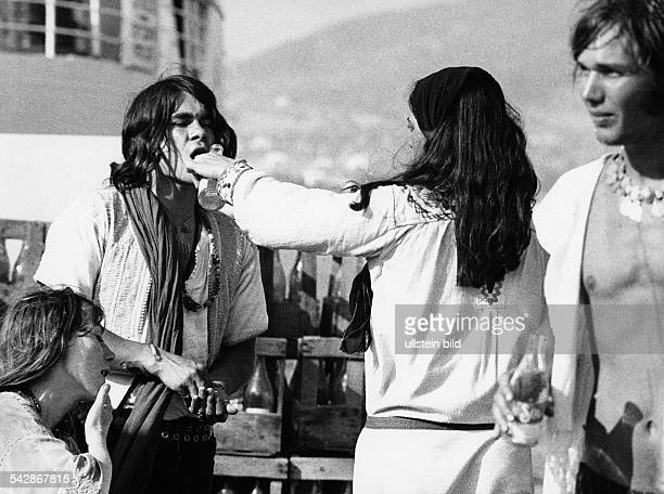 Hippies auf der Insel Ibiza Spanien Balearen1970