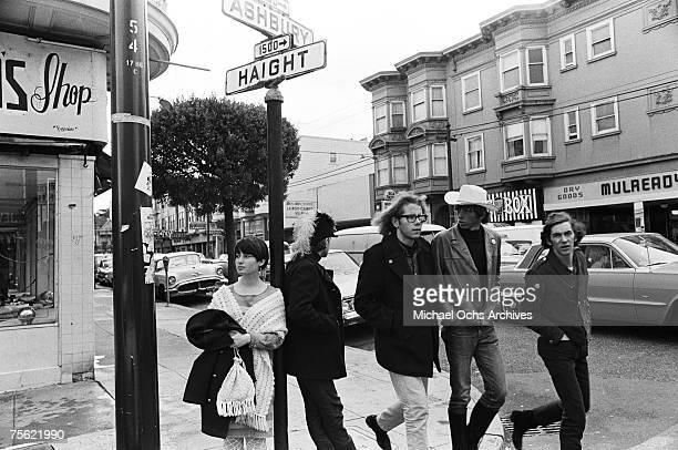 Hippies dawdle at the corner of Haight and Ashbury Streets the epicenter of the Summer of Love in San Francisco California on May 4 1967