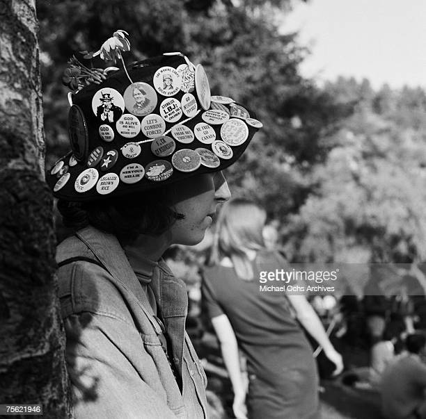 """Hippies gather at Elysian Park for a """"Love-In,"""" a celebration of peace and love, at Eysian Park in Los Angeles, California, on March 26, 1967."""