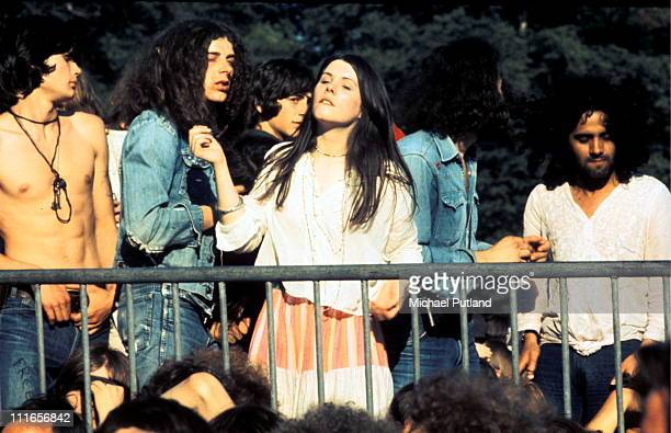 Hippies in the crowd at a Knebworth music festival UK 1974