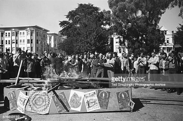 Hippies in the Haight Ashbury district stage a 'funeral' of themselves in an effort to change their public image | Location Haight Ashbury district...