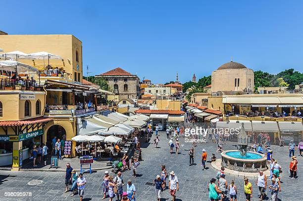 Hippocrates Square in the historic Old Town of Rhodes, Greece