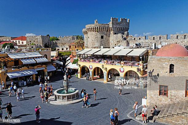 hippocrates square, old town, rhodes town - old town stock pictures, royalty-free photos & images