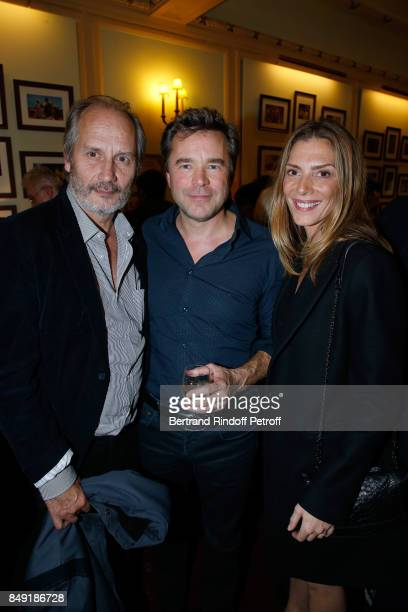 Hippolyte Girardot actor of the piece Guillaume de Tonquedec and Judith El Zein attend 'La vraie vie' Theater Play at Theatre Edouard VII on...