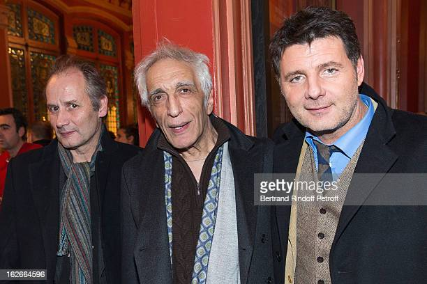 Hippolyte Girardot Gerard Darmon and Philippe Lellouche pose following the 200th performance of the play 'Inconnu A Cette Adresse' at Theatre Antoine...