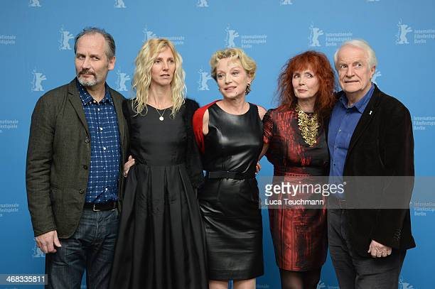 Hippolyte Girardot Sandrine Kiberlain Caroline Sihol Sabine Azema and Andre Dussollier attend the 'Life of Riley' photocall during 64th Berlinale...