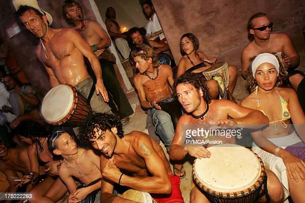 Hippy drummers Sunset beach party Benirras Beach Ibiza July 2006
