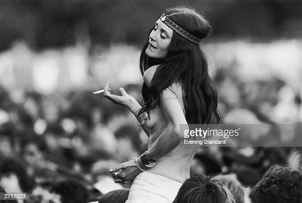 A hippy enjoying the music and atmosphere at Knebworth rock festival