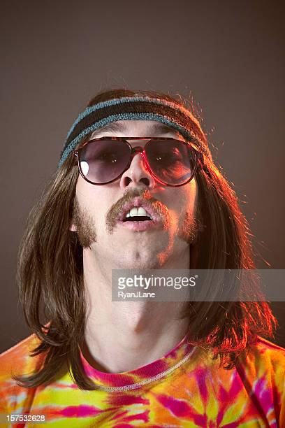 Hippy Man With Mustache Portrait