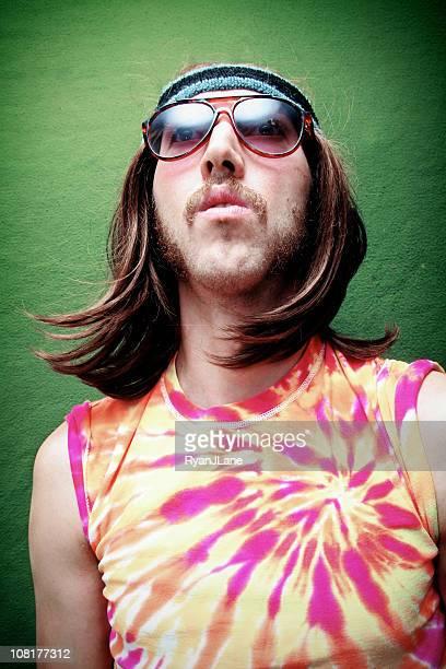 Hippy com Sideburns e Bigode Retrato