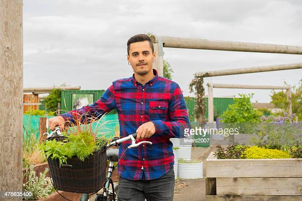 hipster at his allotment