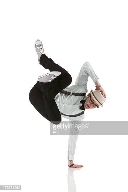 Hipster breakdancing