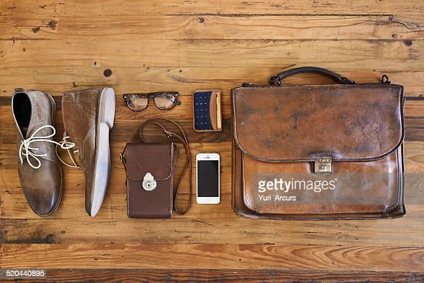 hipster business kit - brown shoe stock photos and pictures