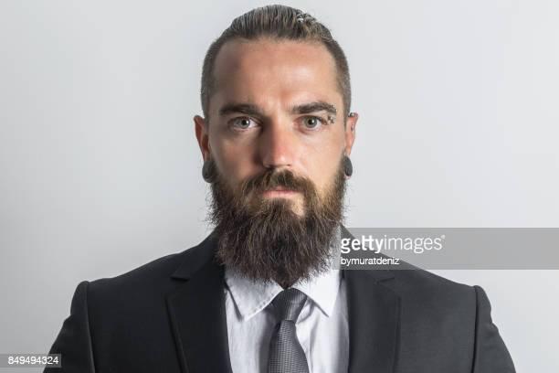 hipster-business-mann - piercing stock-fotos und bilder