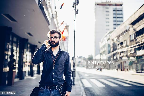 Hipster businessman negotiates
