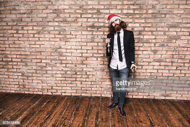 hipster celebrate the christmas alone