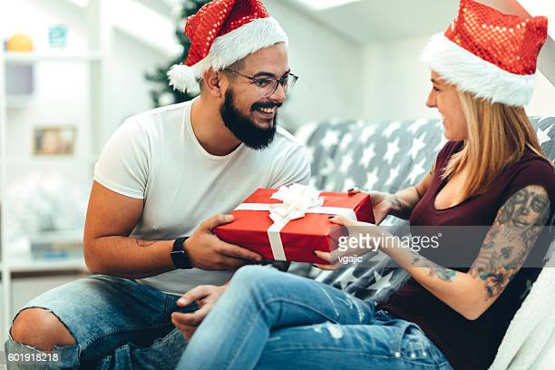 Hipster Couple Celebrating Christmas .