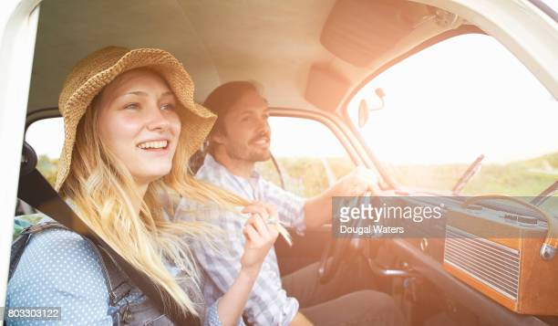 Hipster couple on road trip.