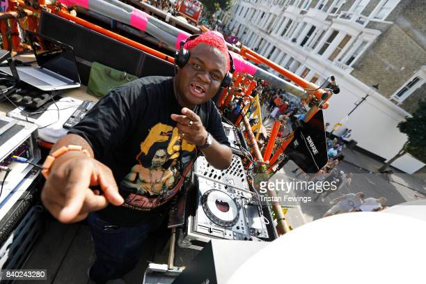 Hipster don't dance DJ on board the Red Bull Music Academy x Mangrove float at Notting Hill Carnival on August 28 2017 in London England