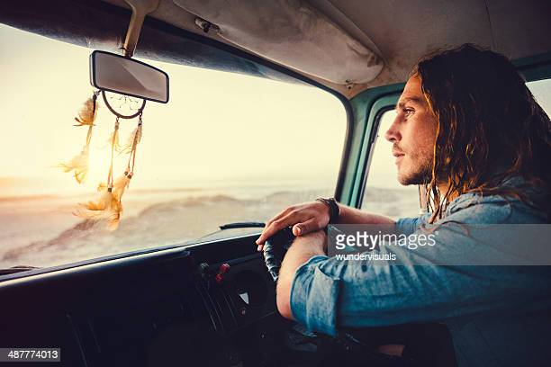 Hipster dude on roadtrip
