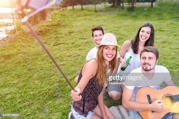 Hipster Friends Taking Selfie