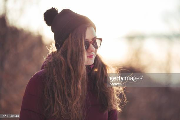 hipster girl on november day - wavy hair stock pictures, royalty-free photos & images