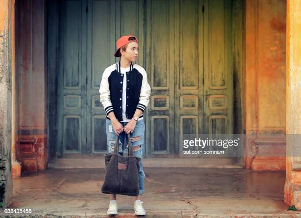 Hipster girl or tomboy style