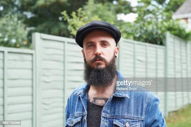 Hipster in his garden