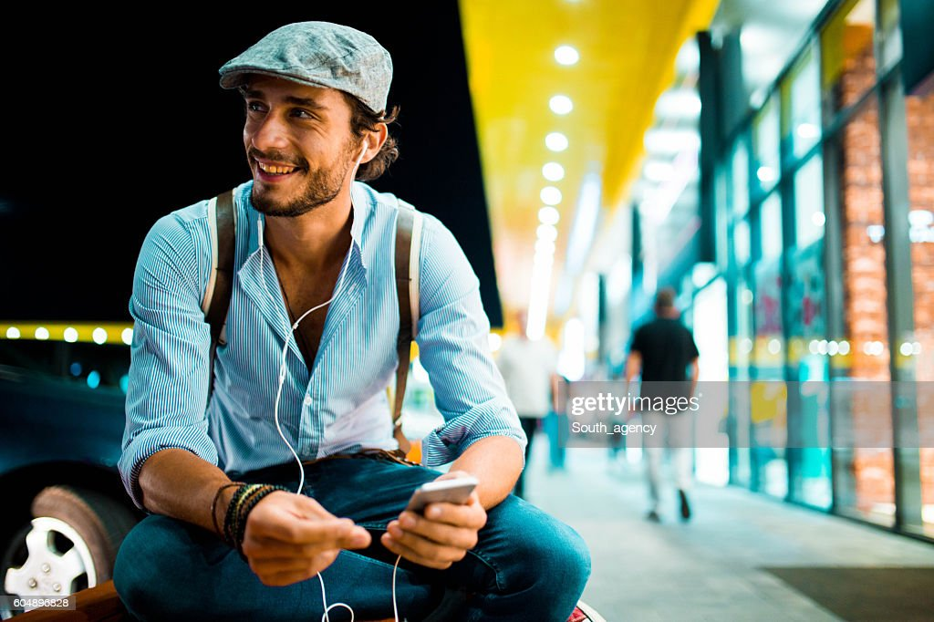 Hipster listening music : Stock Photo