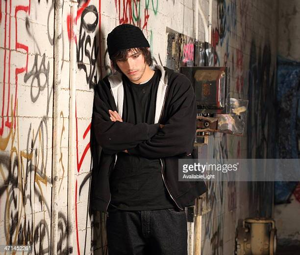 Hipster Man in Graffiti Room Horizontal