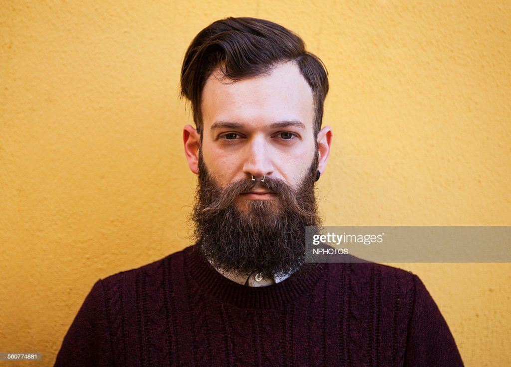 Hipster man with beard : Stock Photo