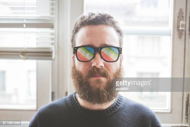Hipster man with funny glasses portrait