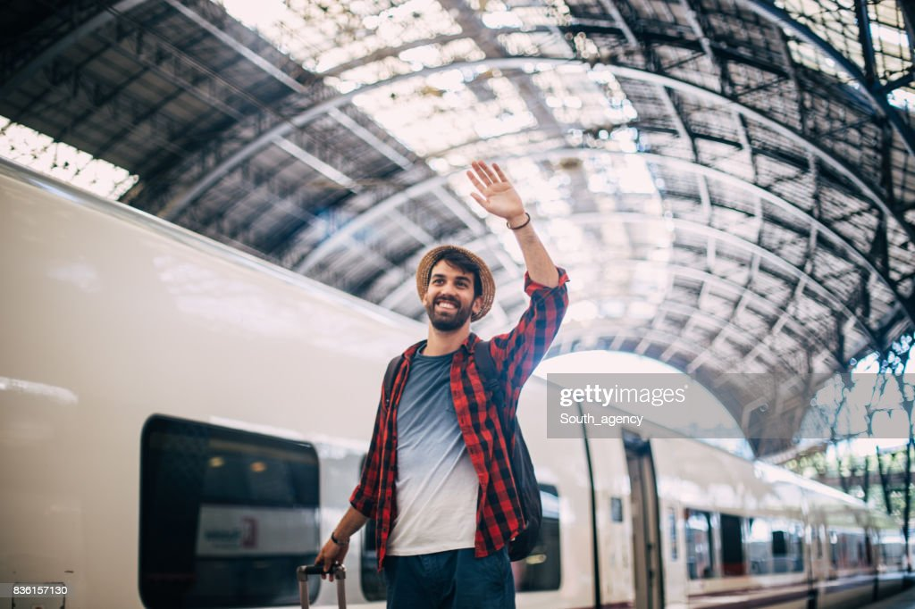 Hipster mgoing away : Stock Photo