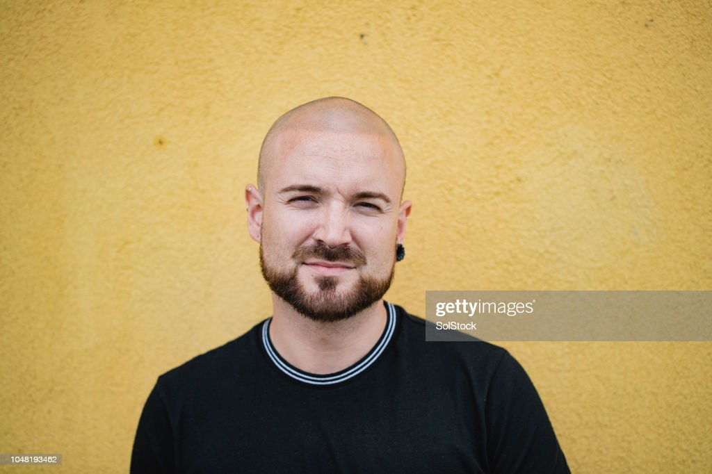 Hipster on Yellow Background : Stock Photo