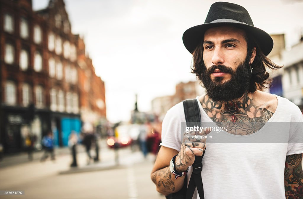 Hipster allein Reisende in Camden town London : Stock-Foto