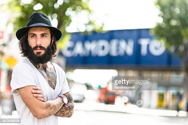 hipster solo traveler in camden town london - camden london stock pictures, royalty-free photos & images