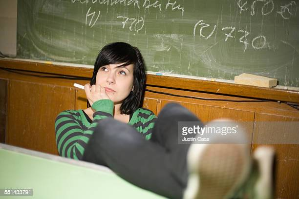 Hipster Student in a Classroom
