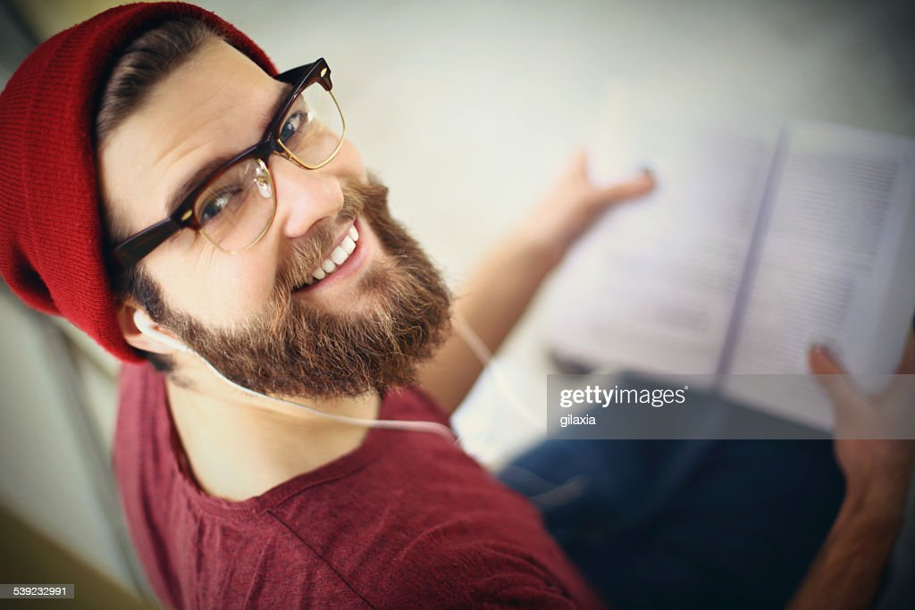 Hipster student. : Stock Photo