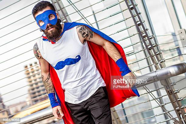 hipster superhero in action - cosplay stock pictures, royalty-free photos & images