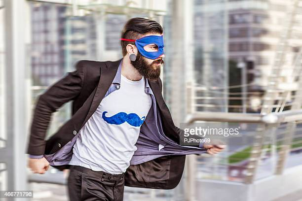 Hipster superhero in action