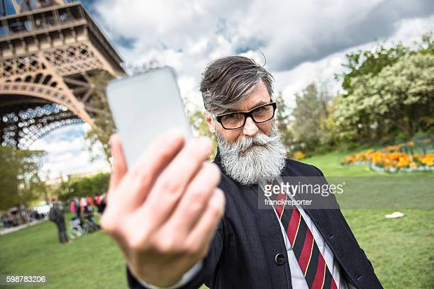 hipster take a selfie in paris