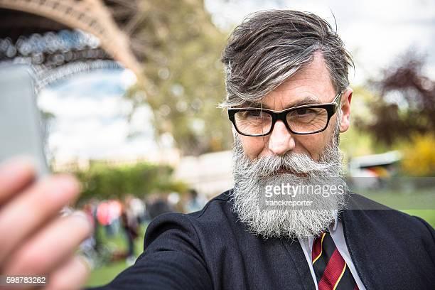 hipster take a selfie in paris