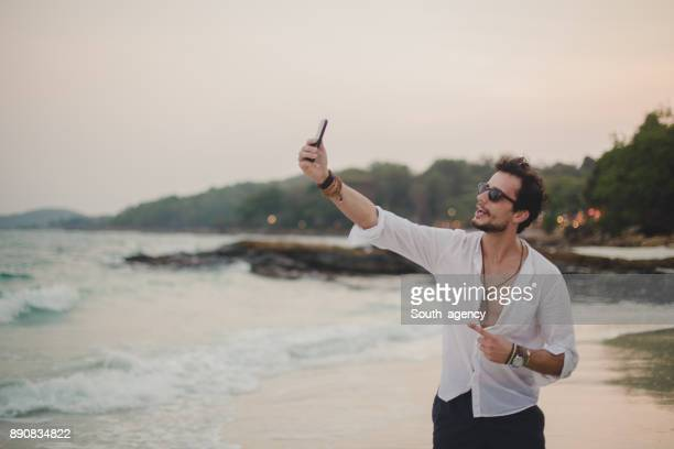 Hipster taking a selfie