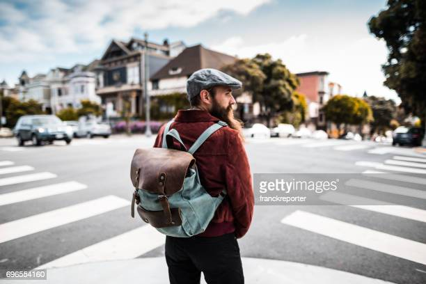 hipster walking on the streets of san francisco